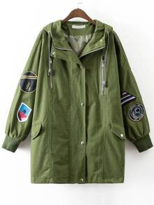 Army Green Embroidery Ribbed Cuff Hooded Long Coat