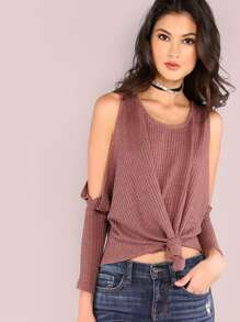 Open Shoulder Knot Front Waffle Knit T-shirt