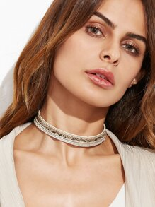 Beige Faux Leather Layered Rhinestone Choker Necklace