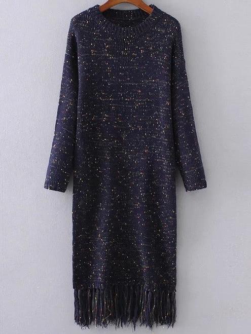 Drop Shoulder Fringe Hem Space Dye Knit Dress dress161007203