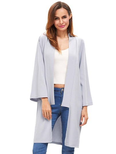 Grey Open Front Long Sleeve Outerwear