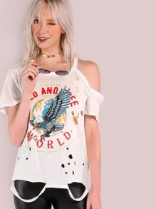 Distressed Wild & Free World Graphic Grunge T-Shirt IVORY