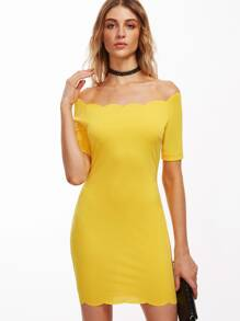 Yellow Scallop Trim Off The Shoulder Bodycon Dress