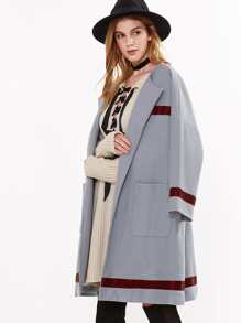 Shawl Collar Drop Shoulder Coat With Pockets