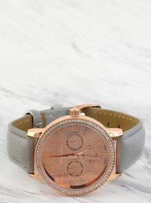 Faux Rhinestone Trim Wristwatch GREY