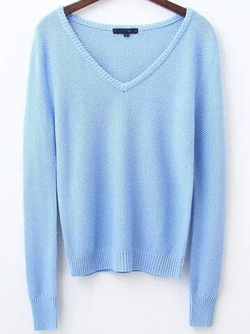 Blue V Neck Ribbed Trim Knitwear sweater161031222