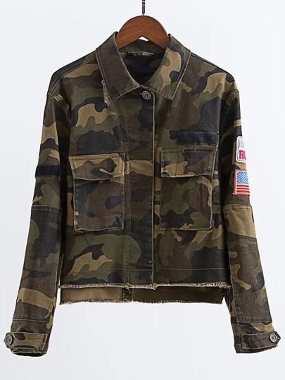 Army Green Patch Embroidery Sleeve Dip Hem Camouflage Jacket