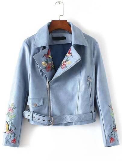 Синяя кожаная куртка с вышивкой и поясом