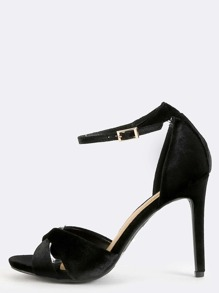 Velvet Criss Cross High Heels BLACK