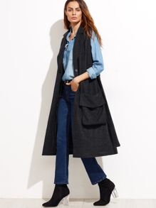 Black Belted Sleeveless Wool Blend Coat With Oversized Pocket