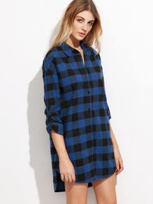 Blue Checkered Roll Sleeve High Low Shirt Dress