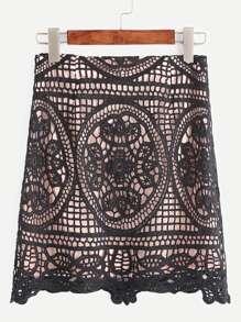 Black Crochet Overlay Bodycon Skirt