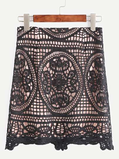 Black Crochet Overlay Bodycon Skirt
