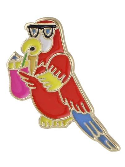 Broche mignonne forme d'oiseau en laque - rouge