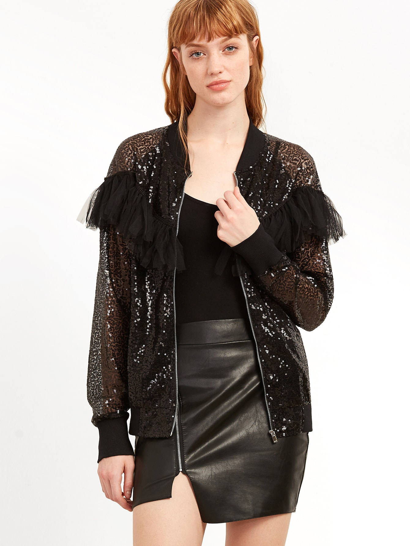 Black Ruffle Trim Sheer Embroidered Sequin Bomber JacketBlack Ruffle Trim Sheer Embroidered Sequin Bomber Jacket<br><br>color: Black<br>size: M,S,XS