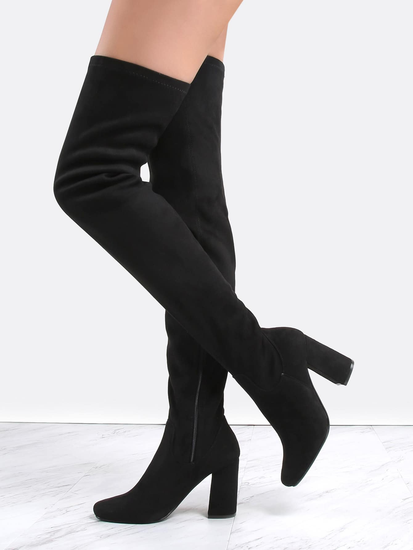 square toe suede thigh boots black shein sheinside