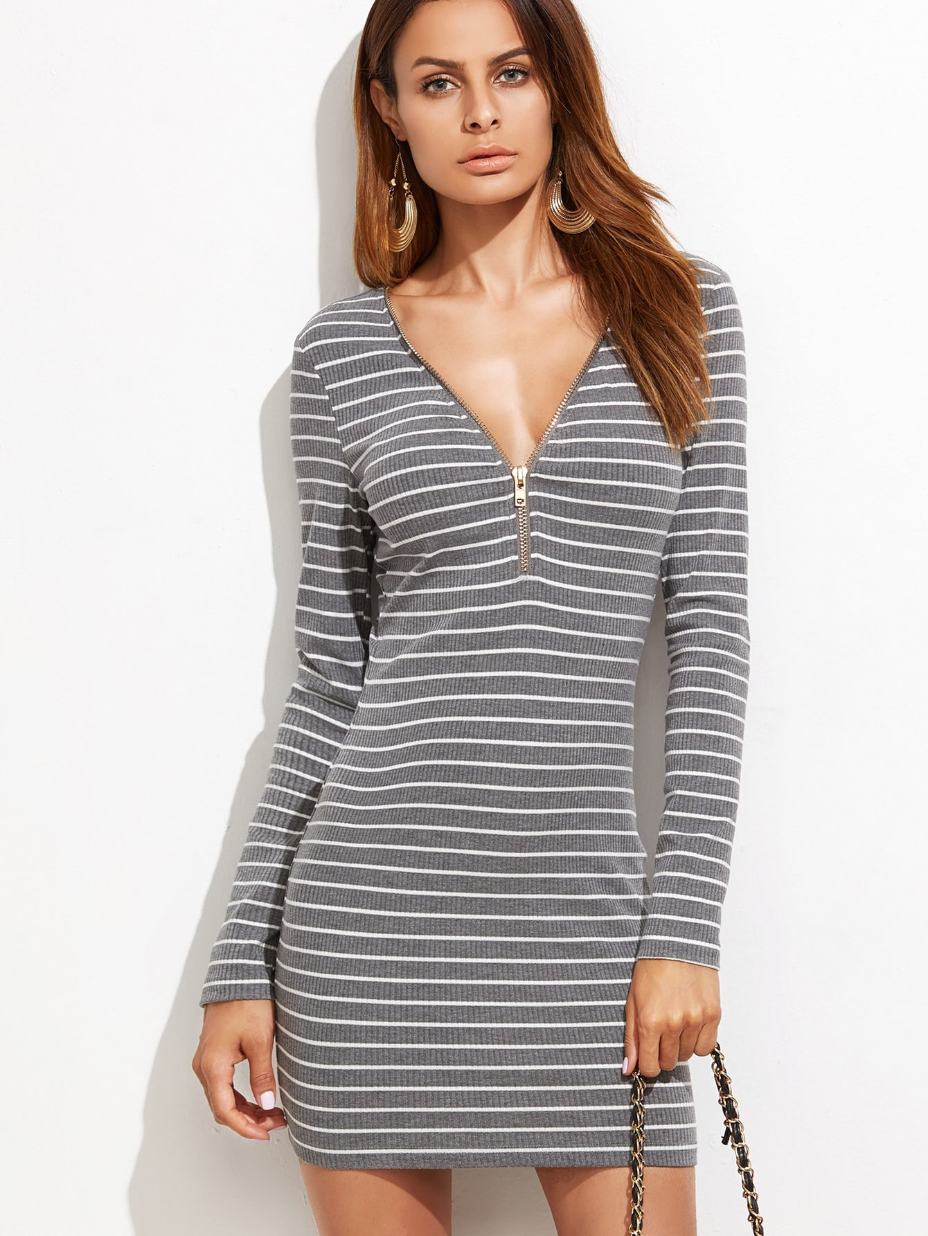 Grey Striped Zip Neckline Ribbed Bodycon Dress dress161012714