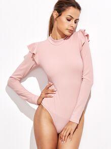 Розовое модное боди с оборками
