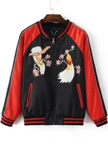 Black Bird Embroidery Raglan Sleeve Zipper Jacket