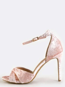 Crushed Velvet Single Sole Heels BLUSH
