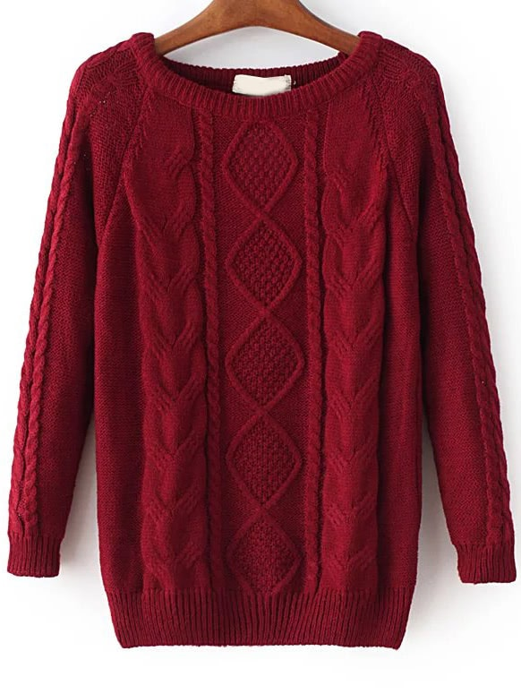 Red Cable Knit Raglan Sleeve Sweater sweater161020219
