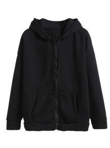 Sweat-shirt plain en capuche avec zip et poche - noir