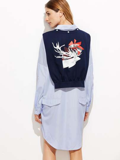 فستان نمط قميص مخطط عمودي أزرق مع شال