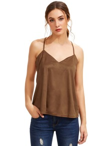 Brown Spaghetti Strap Tank Top