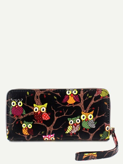 Owl Print Black Zipper Closure Wallet