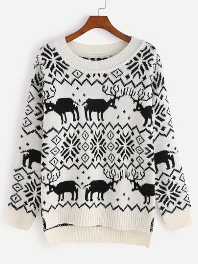 Black And White High Low Ugly Christmas Sweater -SheIn(Sheinside)