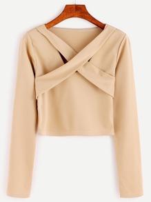 Khaki Criss Cross Front Crop T-Shirt