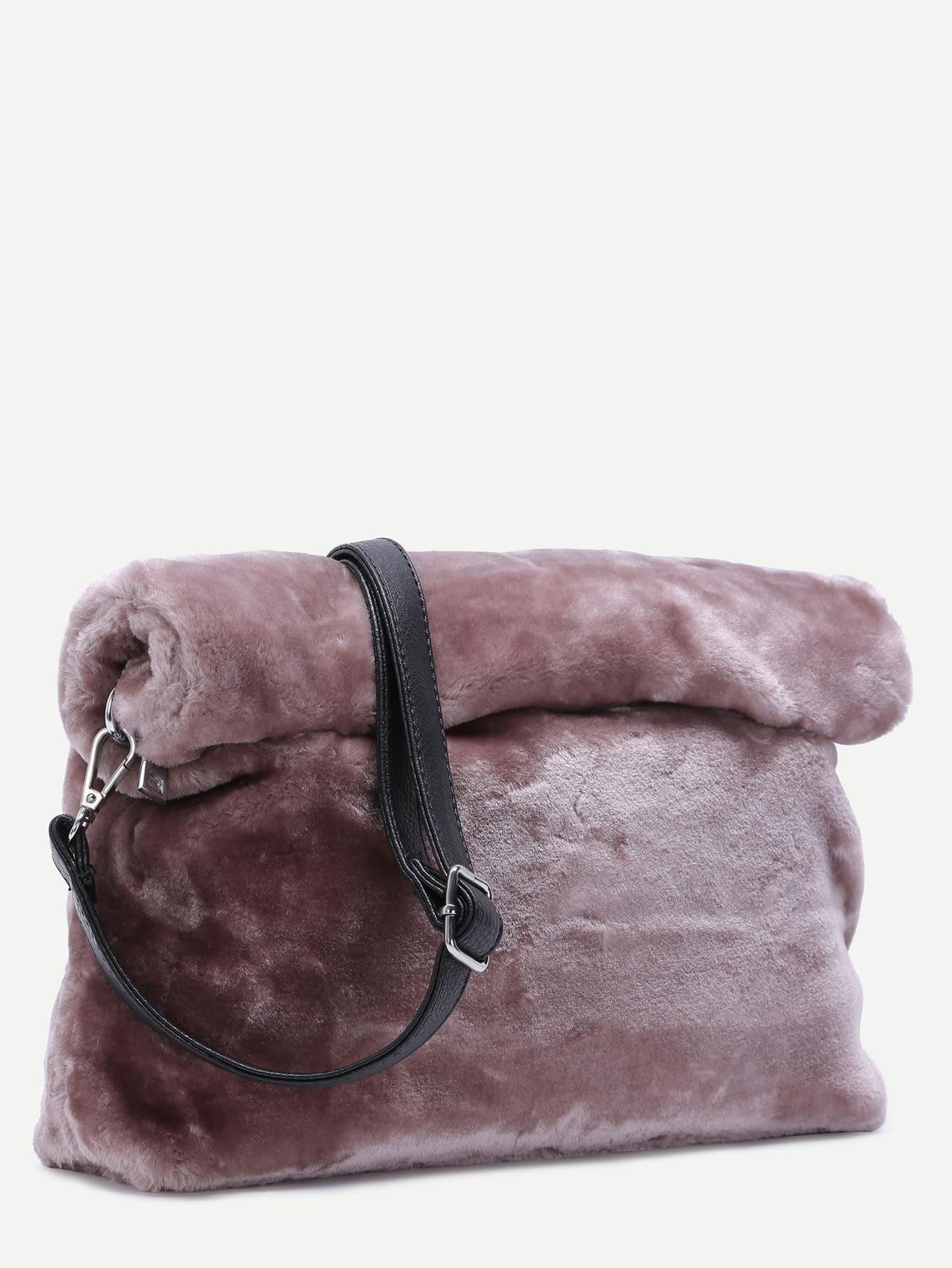 verschluss crossbody tasche mit rei verschluss kunstpelz rosa german shein sheinside. Black Bedroom Furniture Sets. Home Design Ideas