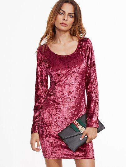 Burgundy Velvet Long Sleeve Bodycon Dress
