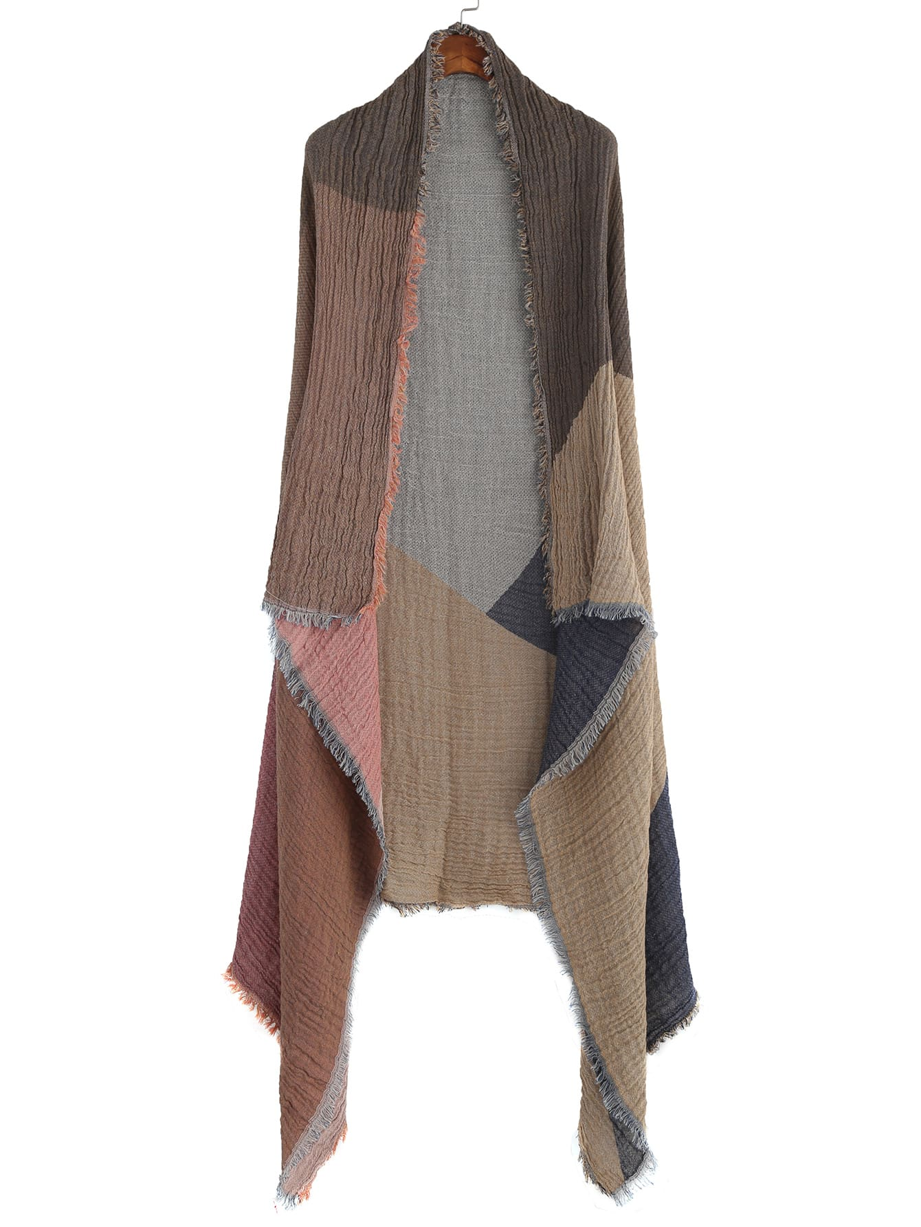 Colorblock Textured Raw Edge Shawl Scarf scarf161027002