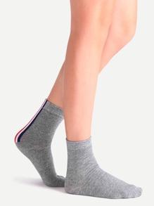 Grey Vertical Stripe Crew Socks