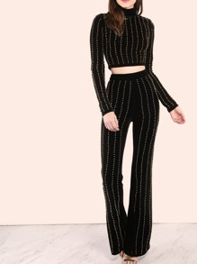 Studded Velvet Flare Pants BLACK
