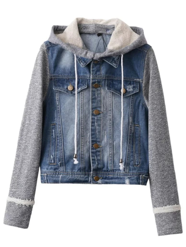 Contrast Sleeve Drawstring Hooded Denim Jacket Shein