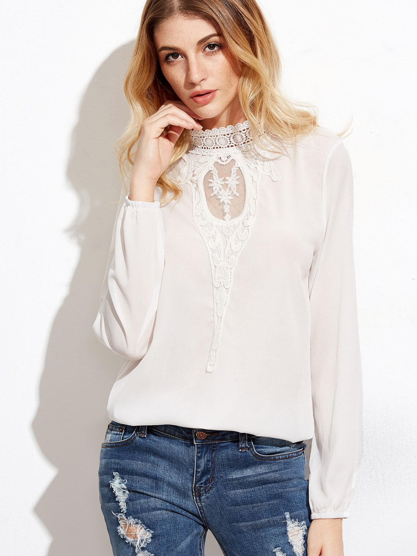 Crochet Lace Panel Blouse crochet lace panel top