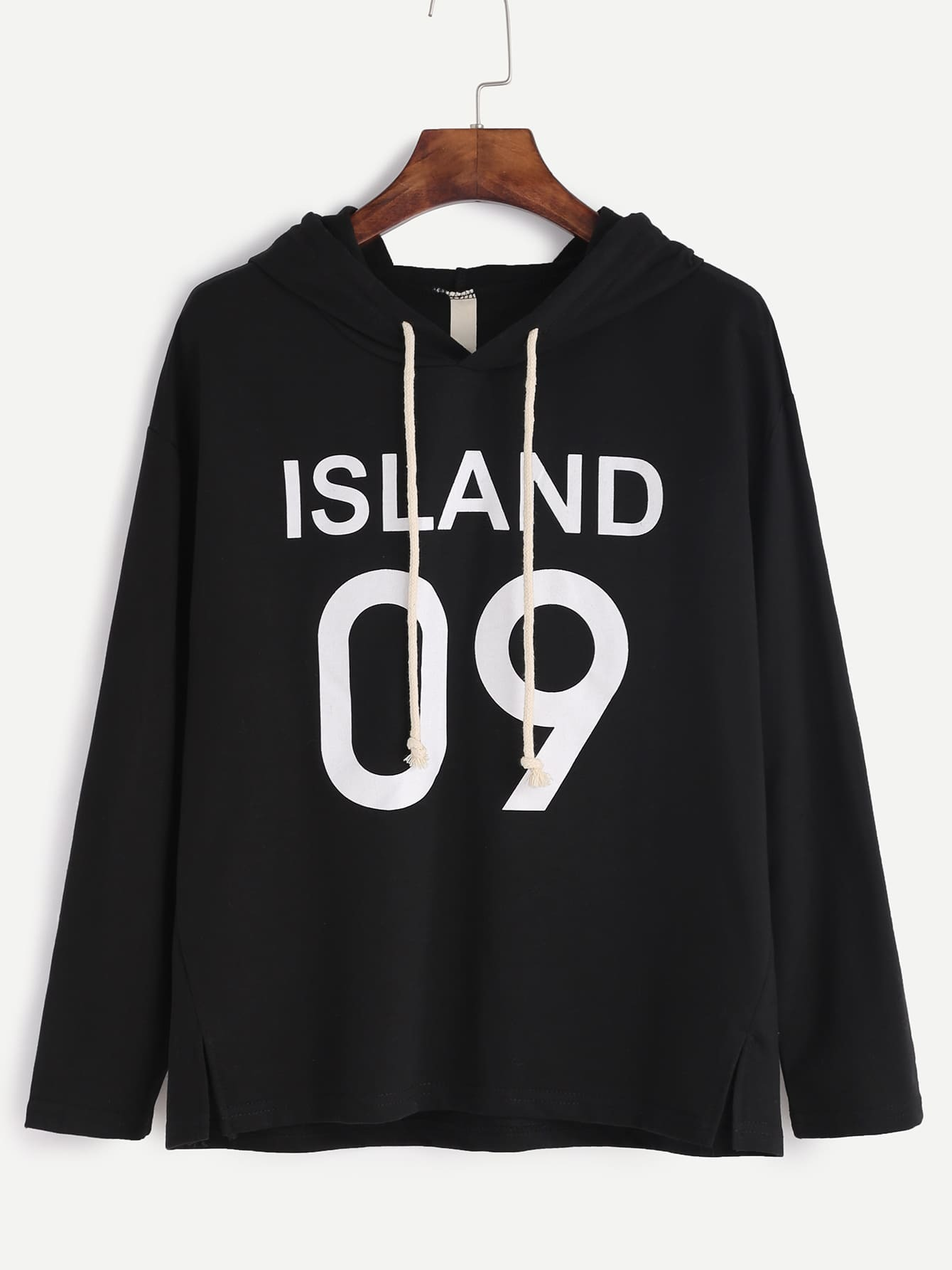 Black Letter Print Slit Side Hooded T-shirt tee161018003