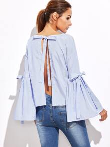Blue Vertical Striped Bow Tie Split Back Bell Sleeve Blouse
