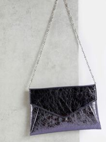 Cracked Metallic Chain Purse PEWTER