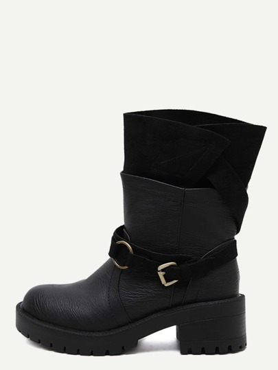 Black Faux Leather Buckle Strap Mid Calf Boots