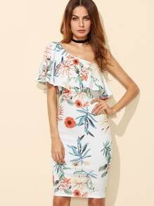 Botanical Print Oblique Shoulder Frill Dress