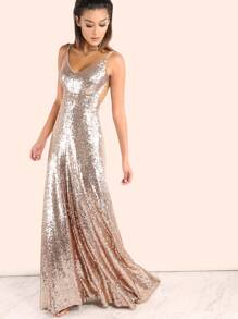 Backless Sequin Cami Maxi Dress ROSE GOLD