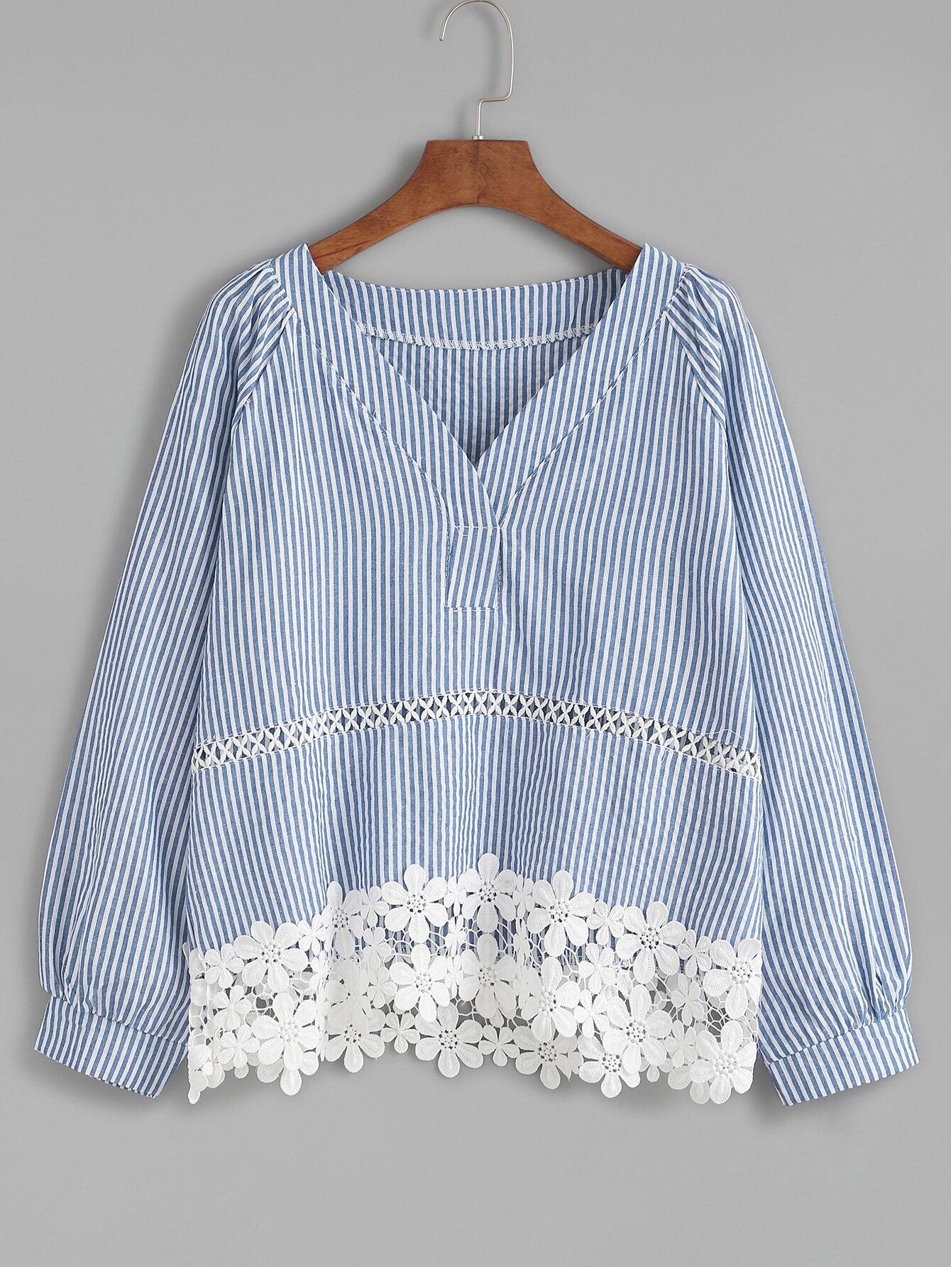 Blue Vertical Striped Contrast Applique Trim Top blouse161012132