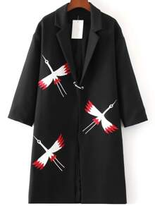 Black Bird Embroidery Longline Coat