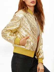 Gold Ribbed Trim Quilted Padded Jacket