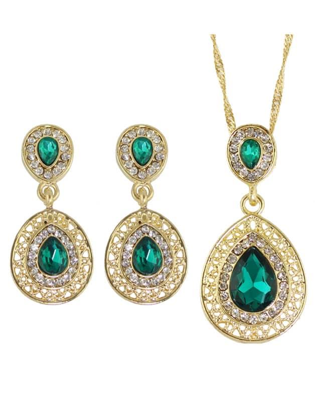 Buy Green Elegant Rhinestone Necklace Earrings Wedding Jewelry Set