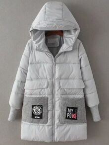 Grey Hooded Padded Coat With Patch Pocket