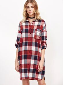 Red Plaid Roll Sleeve Shirt Dress With Studded Pocket